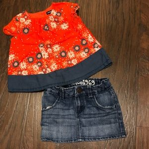 Baby GAP top and denim skirt